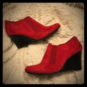 """Covington Red """"Suede"""" Booties"""